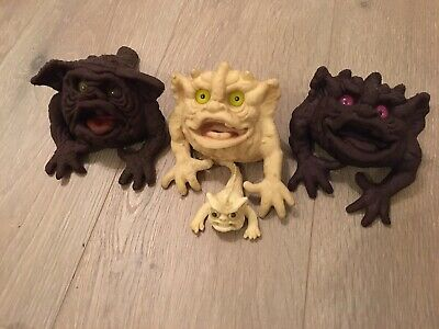 Bundle Of 3 X Vintage Boglin Hand Puppet Klang Purple Splatt And A Baby Boglin! • 82£