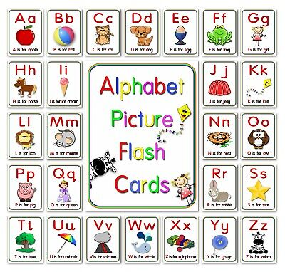 Alphabet Flash Cards Picture ABC Colour EYFS Preschool Early Year Sen Resource S • 2.99£