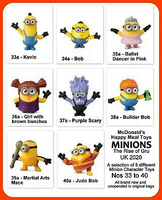 McDonald's Happy Meal Toys UK 2020 Minions Rise Of Gru Selection Of 8 Minions • 2.75£