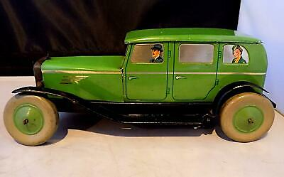Vintage Tinplate Wind-Up Saloon Car Wt Litho Driver + Pass, Chad Valley, England • 98£