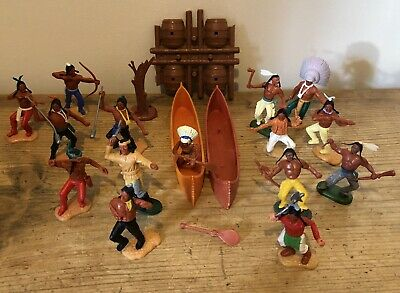 Timpo Vintage Toy Native American Indians Apaches + Accessories Canoe Job Lot • 9.99£