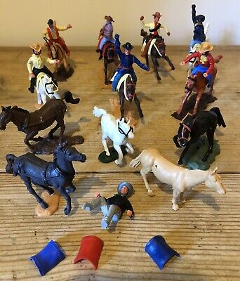Timpo Vintage Toy Cowboys Horses American Soldiers • 10.50£
