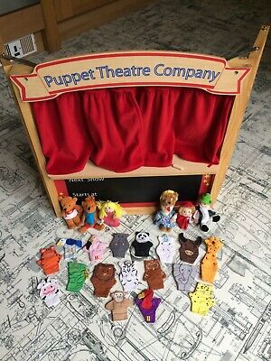 Gorgeous ELC Wooden Puppet Theatre With 23 Finger Puppets • 35£