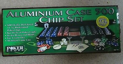Poker Chip Set 500 Aluminum Case NEW With Cards, Dice 11.5 Kg Chips • 27£