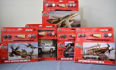 Airfix Starter Set 1:72 Scale Model Kits Including Paints, Glue And Brush • 11£