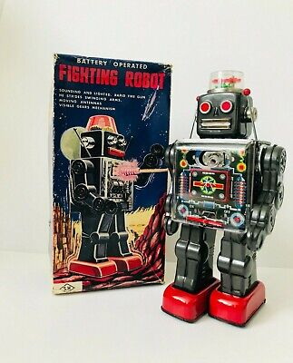Vintage S.H Horikawa Battery Operated Fighting Robot, Japan, 1960's- Boxed-WOW • 359.99£