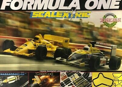 Classic Scalextric Silverstone F1 Set With Turbo Flash. Circa Late 1980's. • 38£