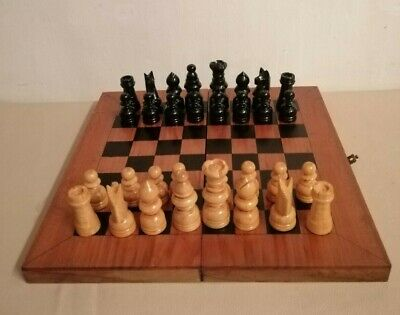 Vintage Inlaid Wood Chess Board/Folding Box & Wooden Chess Pieces • 35£