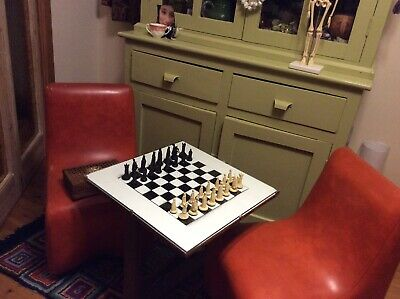 Vintage Chess ♟ Full Set Of Pieces With Folding Chess Board Table Decorative 60s • 85.50£