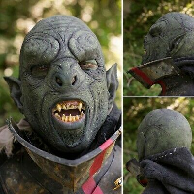 Carnal Orc Green Mask, Latex Rubber, Ideal For Costume Effect Or LARP • 61£