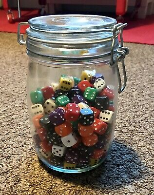Jar Of 180 Dice For Gaming And Hobbyists • 13.99£