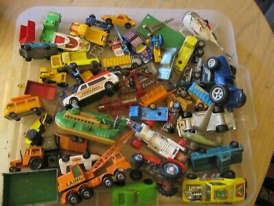 Job Lot Of Vintage Diecast And Plastic Cars And Vehicles Lot D • 24.10£