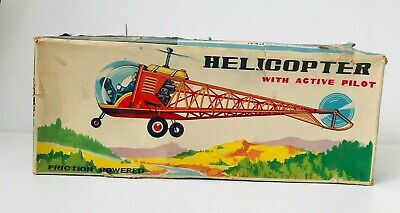 Vintage Helicopter With Active Pilot Friction Powered MF110 Red China Tin Toy • 168.99£