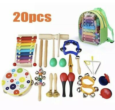 20PCs Wooden Kids Musical Instruments Set Toys Music Percussion Christmas Gifts • 23.99£