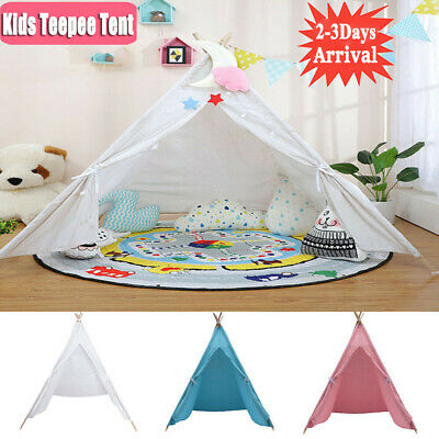 Large Canvas Kids Teepee Tent Children Wigwam Outdoor Indoor Play House Gift Toy • 22.78£