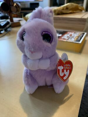TY Basket Beanies Beanie Babies 36873 April Purple Bunny Rabbit Plush Preloved • 8£
