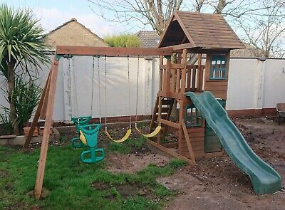 Playground Outdoor Wooden Garden Playhouse Climbing Frame Swing And Slide • 250£