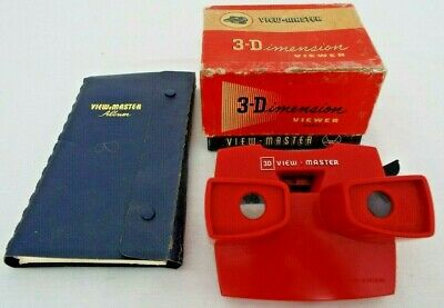 Vintage Red View-Master 3-Dimension Viewer With View Master Album • 25£