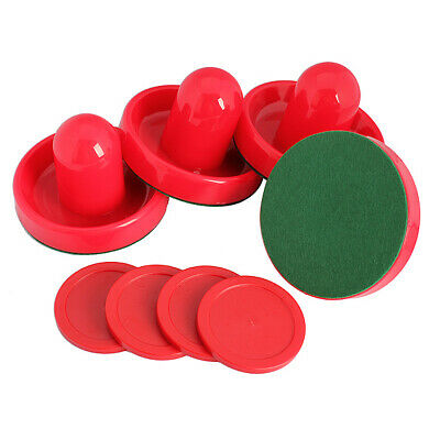 4Pcs Air Hockey Table Goalies With 4pcs Puck Felt Pusher Mallet Grip Red • 10.29£