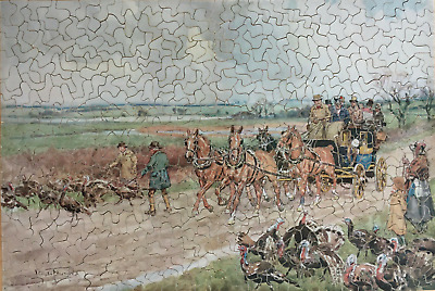 Vintage 561 Piece Wooden Jigsaw Puzzle - The Coach Gets Priority • 29.95£