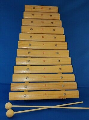 12 Note Wooden Xylophone With 2 Beaters/ Mallets • 0.99£