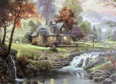 Vintage 500 Piece Wooden Jigsaw Puzzle - The Log Cabin • 12.95£