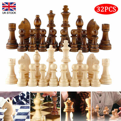 32 Piece Wooden Carved Small Chess Pieces Hand Crafted Set 65mm/91mm King Tools • 10.59£