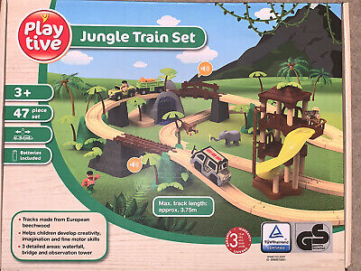 Playtive Jungle Train Set Battery Operated Quality 47 Wooden Childrens Toy NEW • 29.95£