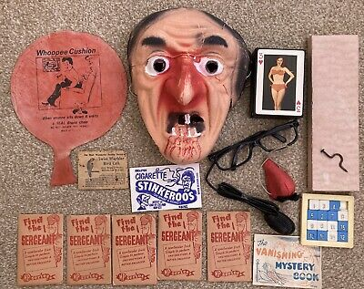 Vintage Practical Jokes Selection Ellisdons Magic Prank Gag Tricks & Mask 1960s • 9.99£