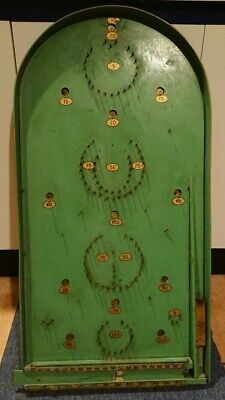 Vintage Bagatelle Board Game With Original Paint And Balls Fairground Green  • 39.99£