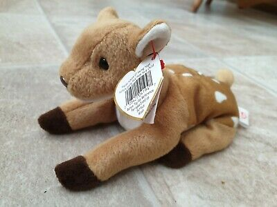 BNWT, Ty Beanie Baby Whisper - Deer, Soft Plush Beanie Toy • 3£