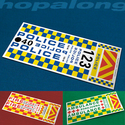 Scalextric/Slot Car 1/32 Scale Emergency Vehicle Decals - 7 Options • 2.85£