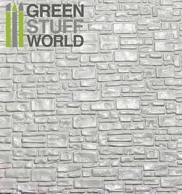 ABS Embossed White Plasticard - SMOOTH ROCK WALL - Styrene Plastic Sheets HIPS • 2.75£