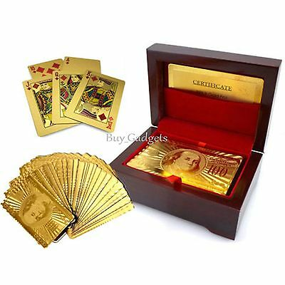 24k Gold Plated Playing Cards Full Poker Deck 99.9% Pure With Box Christmas Gift • 6.95£