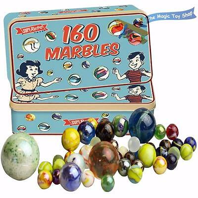 160 Traditional Assorted Colorful Classic Retro Glass Marbles In A Tin Kids Game • 6.39£