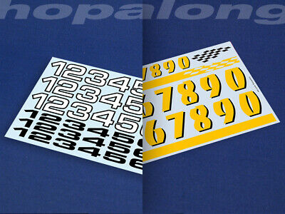 Scalextric/Slot Car 1/32 Scale Race Number Decals (with White) • 3.55£
