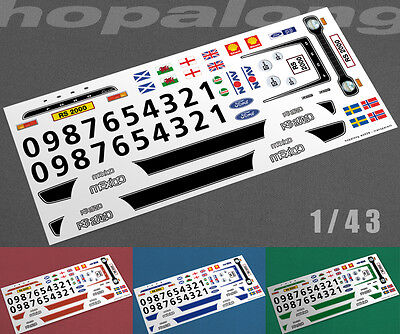 Scalextric/Slot/Diecast Car 1/43 Scale  RS2000  Waterslide Decals • 2.95£