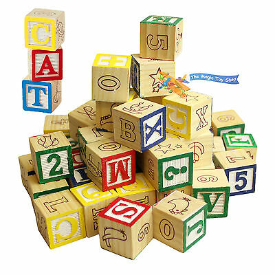 Wooden ABC 123 Building Blocks Cubes Kids Alphabet Letters Numbers Bricks Toy • 6.79£