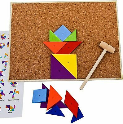 Hammer And Nails Game Tap Tap Art Set Pins Wooden Shape Creative Toy, 67 Pieces • 5.99£