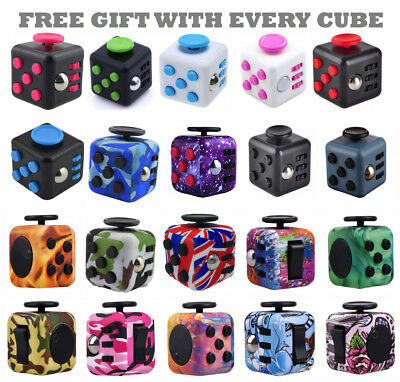 UK Fidget Cube Spinner Toy Children Desk Adults Stress Relief Cubes ADHD Camo • 1.49£
