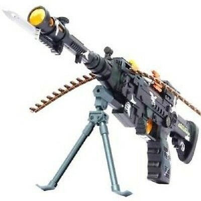 Combat 3 Army Commando Machine Gun Pistol With Lights And Sounds Kids Toy • 8.99£