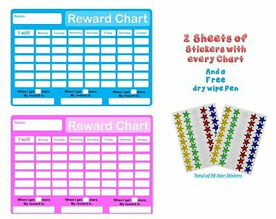 RE-USABLE Childrens Behaviour Reward Chart Pen And Star Stickers Pink + Blue  • 4.49£