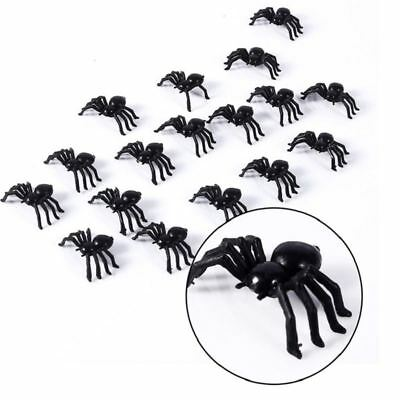24 Fake Spider Black Toys Halloween Small Funny Joke Prank Props Party Gifts • 1.99£