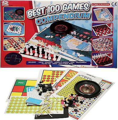 Set Of Best 100 Compendium Games Traditional Family Board Game Chess Bingo Ludo • 7.29£