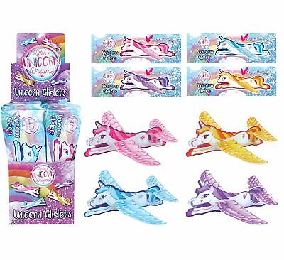 Unicorn Gliders Flying Planes Kids Girls Pink Pinata Loot Party Bag Filler Toys • 2.99£