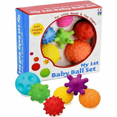6 Piece First Baby Ball Set Baby Hand Massage Multi Textured Sensory Soft Balls • 13.99£