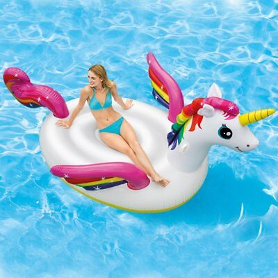 Intex Giant Inflatable Unicorn Island Ride On Swimming Pool Lounger Lilo Air Mat • 20.99£