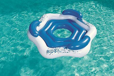 Bestway 3 Seat Inflatable Island Swimming Pool Lounger Floating Ring Lilo Raft • 129.99£