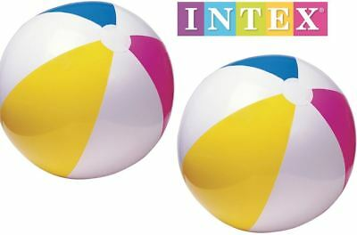 2x 24  Intex Inflatable Blow Up Panel Beach Ball Swim Pool Float Toy Twin Pack • 3.89£