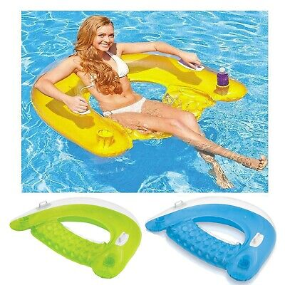 Intex Inflatable 60  Sit N Float Swimming Pool Beach Chair Lilo Lounger Air Mat • 20.99£